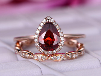 2pc Bridal Set, Pear Garnet Wedding Ring  Art Deco Diamond Band 14K Rose Gold 6x8mm