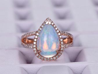 Pear Africa Opal Engagement Ring Diamond Wedding Ring Split Shank 14K Rose Gold 8x12mm