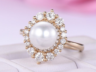 3ct Round Pearl Ring Graduated FULL CUT Diamond Double Halo 14K Yellow Gold 6.5mm