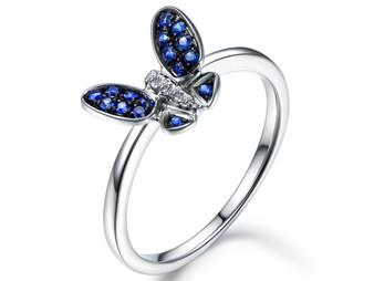 Sapphire / Diamond Engagement Ring 14K White Gold, Butterfly Ring