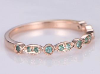 Tsavorite Wedding Band Half Eternity Anniversary Ring Art Deco 14K Rose Gold