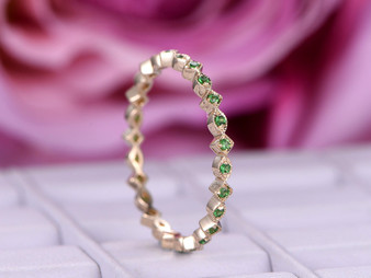 Tsavorite Wedding Band Full Eternity Anniversary Ring 14K Rose Gold
