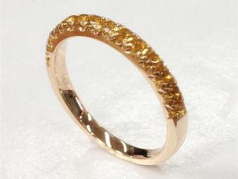 November Birthstone Citrine Wedding Band Half Eternity Anniversary Ring 14K Rose Gold