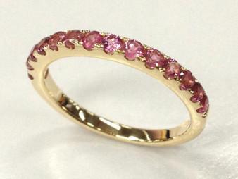 Pink Tourmaline Wedding Band Half Eternity Anniversary Ring 14K Yellow Gold 2mm October Birthstone