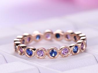 Blue Sapphire/Amethyst Wedding Band Full Eternity Anniversary Ring Bezel Set 14K Rose Gold