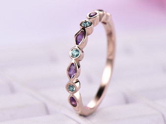Marquise Sapphire Round Alexandrite Wedding Band Half Eternity Anniversary Ring 14K Rouse Gold