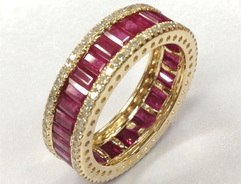 Natural Ruby Wedding Band 14K Yellow Gold Anniversary Ring Full Eternity band