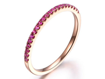 Red Ruby Half Eternity Wedding Band Anniversary Ring 14K Rose Gold