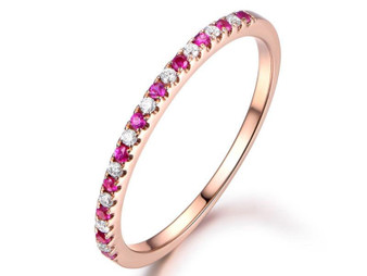 Ruby Diamond Wedding Band Half Eternity Anniversary Ring 14K Rose Gold