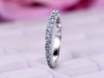 Alexandrite Wedding Band 3/4 Eternity Anniversary Ring 14K White Gold