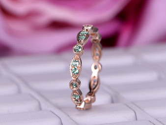 Green Alexandrite Wedding Band Eternity Anniversary Ring Art Deco Milgrain 14K Rose Gold