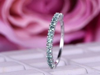 Prong set Green Alexandrite Wedding Band Half Eternity Anniversary Ring 14K White Gold