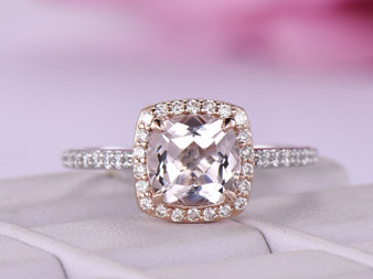 Cushion Morganite Engagement Cathedral Ring VS Diamond 14K White/Rose Gold 7mm