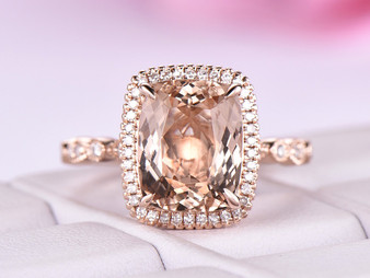 3.2ct 8x10mm Cushion Morganite Ring Milgrain Under Gallery 14K Rose Gold