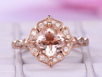 18k Rose Gold 7mm Cushion Morganite Engagement Ring Morganite Cathedral Ring Floral Halo Ring Vintage