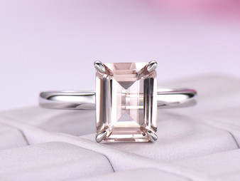 Emerald Cut Morganite Engagement Ring 14K White Gold 7x9mm Claw Prong