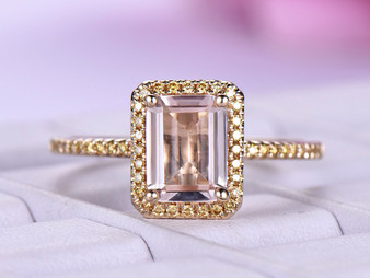 Emerald Cut Morganite Engagement Ring Champagne Diamond 14K Yellow Gold 6x8mm