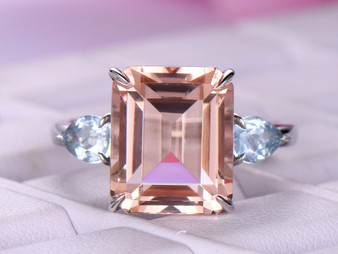 7ct Emerald Cut Morganite Engagement Ring Side Pear Aquamarines 14K White Gold 10x12mm,3 Stones