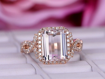 3.2ct  8x10mm Emerald Cut Morganite Engagement Ring Diamond Infinite Love Shank 14K Rose Gold