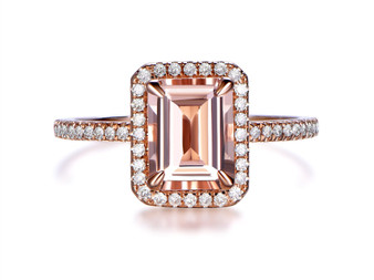 6x8mm Emerald Cut Morganite Engagement Ring Diamond Halo 14K Rose Gold