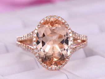 5ct Elongated Oval Morganite Engagement Ring Diamond Split Shank 18K Rose Gold 10x14mm