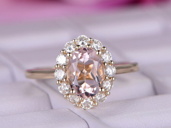 Oval Morganite Engagement Ring Moissanite Halo Plain Shank 14K Yellow Gold 6x8mm