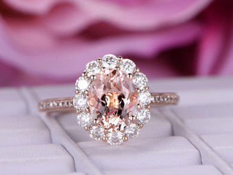 Oval Morganite Engagement Ring Moissanite Halo Diamond Shank 14K Rose Gold 6x8mm