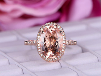 5.5ct Elongated 10x14mm Oval Morganite Engagement Ring Diamond Halo 14K Rose Gold Milgrain Under Gallery