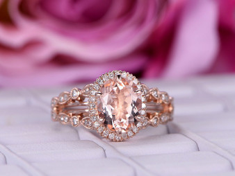 3ct 8x10mm Oval Morganite Cathedral Ring Art Deco Diamond Split Shank 14K Rose Gold Milgrain Under Gallery  6 Prongs