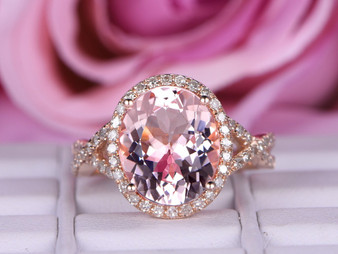 3.5ct 10x12mm Oval Morganite Engagement Ring  Diamond Wedding Infinite Love Shank 14K Rose Gold