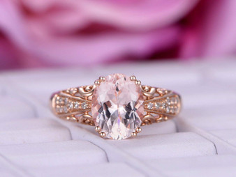 3ct 8x10mm Oval Morganite Engagement Ring Celtic Filigree Shank 14K Rose Gold