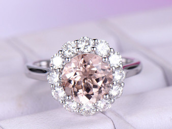 Round Morganite Engagement Cathedral Ring Moissanite Halo 14K White Gold 8mm