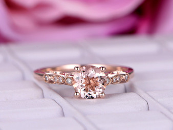 Round Morganite Engagement Ring Diamond Celtic Shank 14K Rose Gold 6.5mm