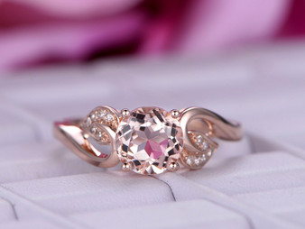 Round Morganite Engagement Ring Diamond Wedding Ring Seedling style 14K Rose Gold 7mm