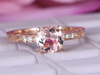 7mm Round Morganite Engagement Ring Celtic Engraving 14K Rose Gold