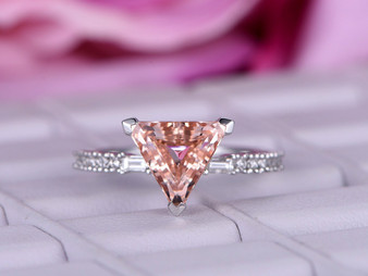 Trillion Morganite Engagement Ring Diamond Wedding 14K White Gold 9mm