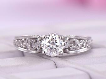 6mm Round FB Moissanite Ring Floral Diamond Under Gallery Celtic Shank 14K White Gold