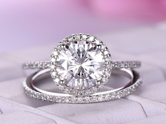2pc Bridal Set,Round Moissanite Engagement Ring Full Enternity Diamond Band 14K White Gold 8mm