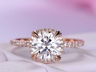 Round Moissanite Engagement Ring Diamond Wedding Ring 18K Rose Gold 7mm