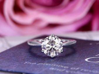Round Moissanite Engagement Ring Diamond Wedding Ring 18K White Gold 6.5mm
