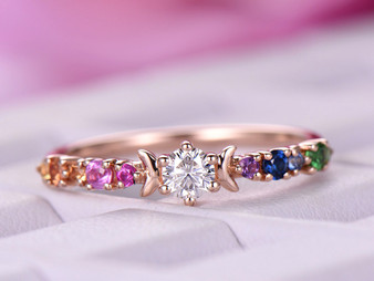 Round Moissanite Engagement Ring Rainbow Birthstones Band 14K Rose Gold 3.5mm