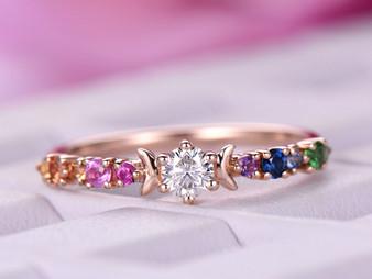 Round Moissanite Engagement Ring Rainbow Birthstones Band 14K Rose Gold 3.5mm