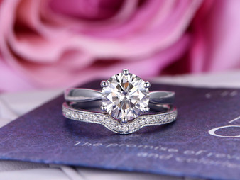 2pc Bridal Set, Round FB Moissanite Engagement Ring Diamond Wedding Band 14K White Gold 8mm
