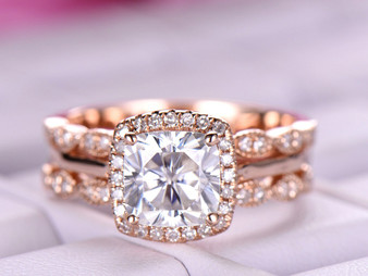 United-as-One Set,1.5ct Cushion Moissanite Engagement Ring Diamond Wedding Bands 14K Rose Gold 6.5mm