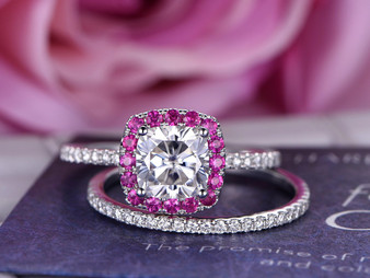 2pc Bridal Set, Cushion Moissanite Engagement Ring Ruby Halo Full Cut Diamond Wedding Band 14K White Gold 8mm