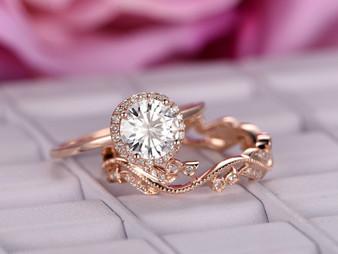2pc Bridal Set, Round Moissanite Engagement Ring Floral Diamond Wedding Band 14K Rose Gold 6.5mm