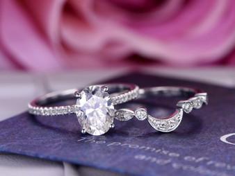 2pc Bridal Set, Oval FB Moissanite Ring Bridal Crescent Diamond Wedding band14K White Gold 6x8mm