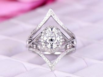 Bridal Set, Oval Moissanite Ring Passionate Love Diamond Chevron Ring Guard 14k Gold 6x8mm