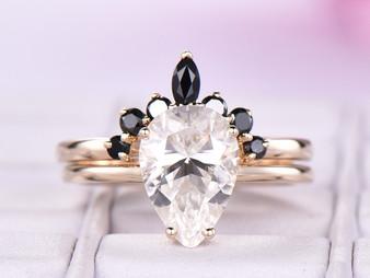 2pc Bridal Set, Pear Moissanite Engagement Ring Black Onyx Tiara Band 14K Yellow Gold 7x10mm