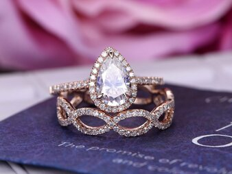 2pc Bridal Set, Pear Moissanite Engagement Ring Infinite Love Diamond Band 14K Rose Gold 6x9mm